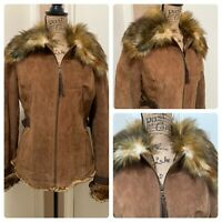Guess Womens Large Suede Leather Full Zip Jacket Coat Brown Faux Fur Lined