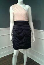 F1 Express dress no belt 10 one shoulder black beige ruched pencil mini Sislou