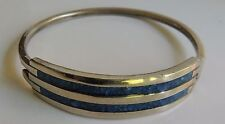 Vintage Mexico ALPACA Inlaid Turquoise Micro Chips Silver Plated Bracelet
