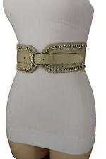 Women Beige Faux Leather Fashion Belt Hip Waist Silver Metal Chains Details S M