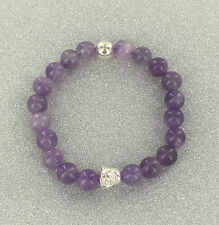 925 STERLING SILVER BUDDHA BEADS BRACELET AMETHYST/HEALING/MEDITATION/PRAYER