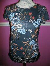 BNWT new DOROTHY PERKINS FRINGED tassel TOP 8 NAVY BLUE FLORAL look