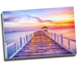 "Orange Blue & Pink Beach Promenade at Sunset Canvas Print Wall Art 30x20"" A1"