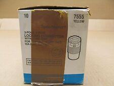 10 NIB LEVITON 7555 YELLOW LOCKING CONNECTOR W/CORD GRIP 10A 250V 15A 125V 3P 3W