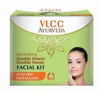 VLCC Double Power Double Neem Single Facial Kit 50g- Acne Free- Free Postage