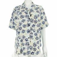 Honor Millburn Top UK 20 Blue Green Floral Short Sleeve Blouse Button Up