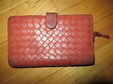 10O/AUTHENTIC BOTTEGA VENETA WALLET/ORANGE/LEATHER/BASKET WEAVE/DIRTY/SOFT!
