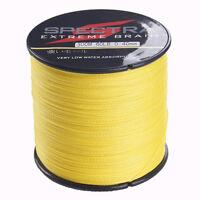 Hot 500M Braided Fishing Line Dyneema Spectra 8-100LB 4 Strands Line Yellow