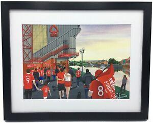 Nottingham Forest City Stadium. High Quality Framed Giclee Art Print. Approx A4.