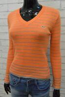 Lacoste Donna Taglia S Felpa Cardigan Maglione Maglia a Righe Sweater Woman