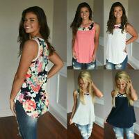 Fashion Women Sleeveless Floral Print Vest T-Shirt Ladies Summer Beach Tank Tops
