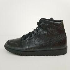 Nike Air Jordan 1 Mid Triple Black Snakeskin BQ6472-010 Women's Size 7 No Lid