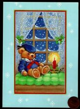Christmas Teddy Bear Sailor Outfit Hat Window Sky - Embossed Greeting Card New
