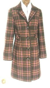 BODEN Tweed By Moon Coat 8 UK Soft brown pink check- knee length- Autumn colours