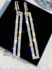 """Long 2.75"""" White Gold Toned Rectangle Rhinestone Earrings.Very Sparkly (and NEW)"""