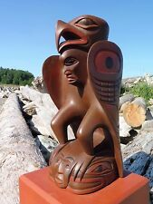 Northwest Coast First Nations native Art carved wooden EAGLE SCULPTURE, signed