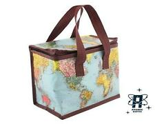 WORLD TRAVELER WORLD MAP THERMAL INSOLATED COOL LUNCH BAG SANDWICH BOX