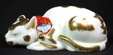 Vintage Japanese Kutani Sleeping Cat Persimmon Collar Gold on White Porcelain