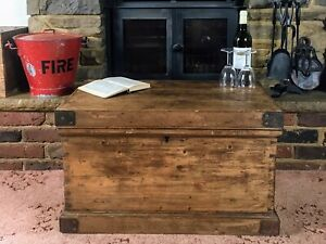 Old Antique Pine Chest, Vintage Wooden Storage Trunk, Blanket Box, Coffee Table.