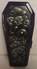 Coffin Biker Metal Cigarette Case, Purple, Raised Pile Of Skulls, BRAND NEW