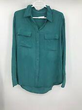 Equipment Femme Womens Long Sleeve Button Front Shirt Aqua Size Medium