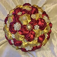 Bespoke Burgundy/Wine Gold Roses Brooches Brides Wedding Bouquet, Indian, Asian