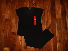 NWT Womens CAROLE HOCHMAN Black Pajamas Sleepwear Set Sz M Medium