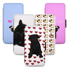 Pugs Love Hearts Flip Phone Case Cover Wallet - Fits Iphone 5 6 7 8 X 11