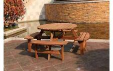 Outdoor Garden 8 Seater Wooden Pub Bench Round Table Patio Furniture Chairs Seat