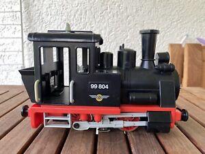 Playmobil Eisenbahn; schwarze Dampflok Art.-Nr. 4051, auch LGB/Spur G Bespielt!