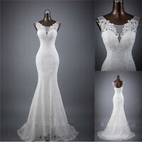 Magic White ivory Mermaid lace Wedding Dress Bridal Gown stock 6 8 10 12 14 16