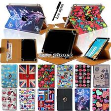 For Various 7 8 10 inch Tablet - Leather Flip Rotating Stand Cover Case + Stylus