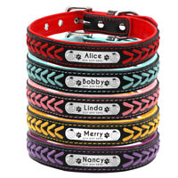 Personalized Dog Collar Large Braided Leather Engraved ID Nameplate Custom XS-L