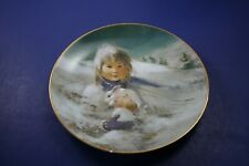 "Vintage Precious Moments 8.5"" Fine China Collector's Plate Snow Bunnies"