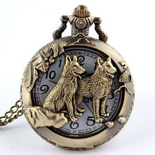 Bronze Wolf Hollow Quartz Pocket Watch Necklace Pendant Women Men's Gifts