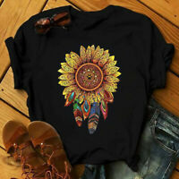 ⭐Women's Short Sleeve Sunflower Printed Casual Basic Tee Blouse Tops Tee T Shirt