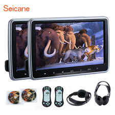 "2X 10.1"" HDMI LCD Screen Car Headrest Active Monitor DVD Player/USB+IR Headphone"