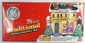 GE String-A-Long Traditional Christmas Lights 75 Multi Color NEW