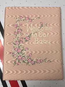 Vtg 50's UNUSED Baby Girl's Pink Satin HB Record Book Keepsake