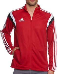 adidas Condivo 14 Mens Football Training Jacket Red Full Zip 3 Stripe