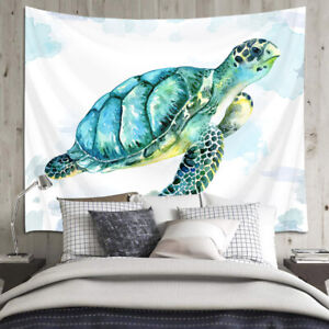 Sea Turtle Tapestry Watercolor Marine Life Wall Hanging For Living Room Bedroom