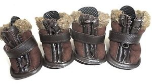 Petrageous Cheyenne Faux Suede Dog Boots Brown X-Small