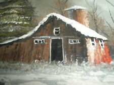 Vintage Antique Oil Painting Barn Farm Scene Primitive Folk Art Signed Rozdorf