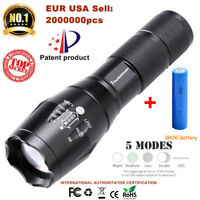 T6 Tactical LED Flashlight with battery 18650 Torch 50000LM Zoomable 5-Mode