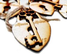 50 Personalized Wooden Wedding Tags Of Heart Lock & Key For Wedding Favor Gift
