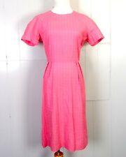 vtg 50s 60s ROCKABILLY Pink on Pink Tiny Floral Foulard Dress Talon zip 37 bust