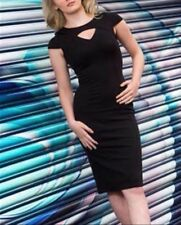 Missi London Womens Black Midi Dress Bodycon Size 8 - 14 Slim Evening Party NEW