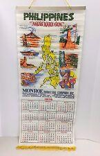 Vintage Philippines Rare Gem 1978 Cloth Calendar Monroe Marketing Manila ASLAS