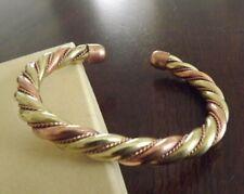 Solid Copper Heavy Twist Cuffed Health Bracelet - Men Women Two Tone Bracelet