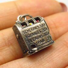Antique 925 Sterling Silver Enamel Slot Machine Design Charm Pendant